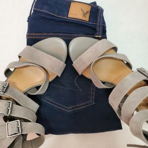 Crown Vintage| Brushed Leather Wedges